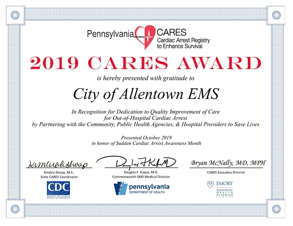 EMS Honored by Pa CARES
