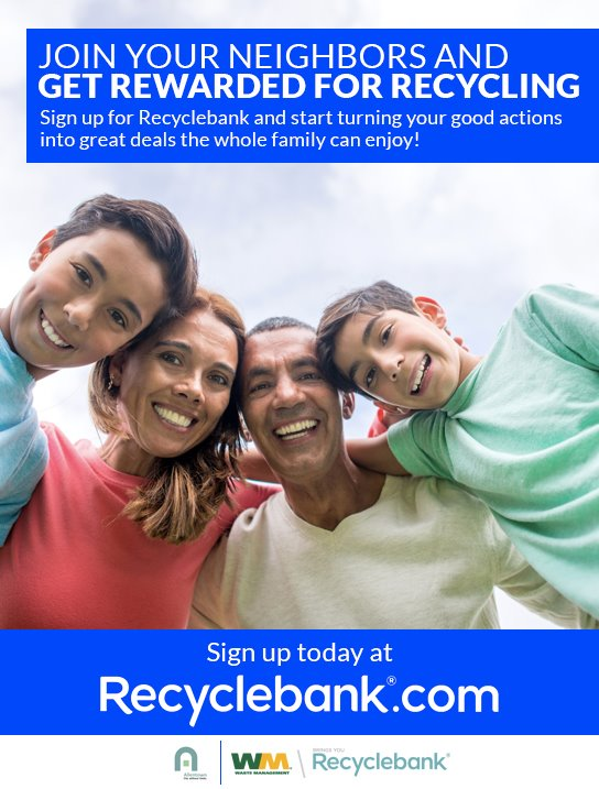 Join your neighbors and get rewarded for recycling. Sign up for RecycleBank and start turning your good actions into great deals the whole family can enjoy. Click here to go to the Allentown page of the Recycle Bank website for sign up.
