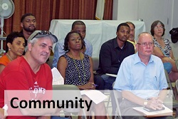 A diverse group of Allentonians attending a community meeting