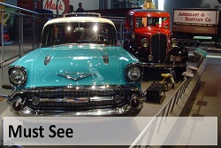 Antique collectable car display inside America On Wheels Museum