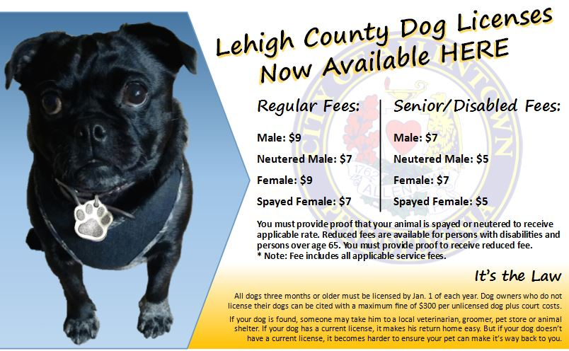 For dog license information and pricing please contact Animal Control at 610-437-7535.