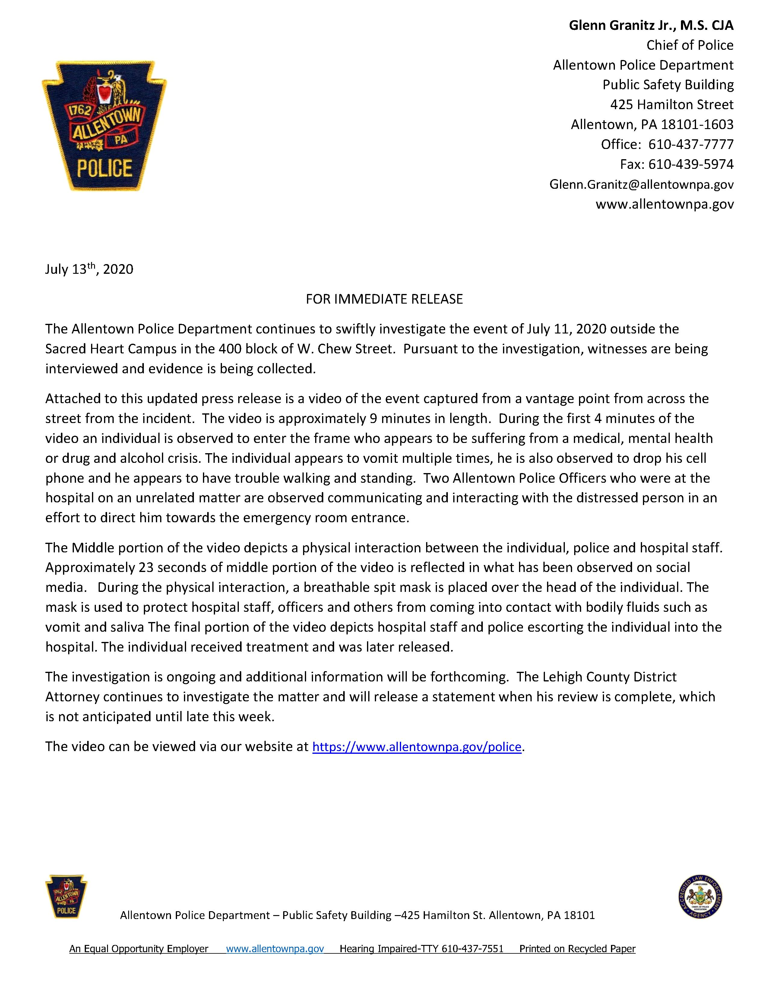 Information Release 7/13/2020