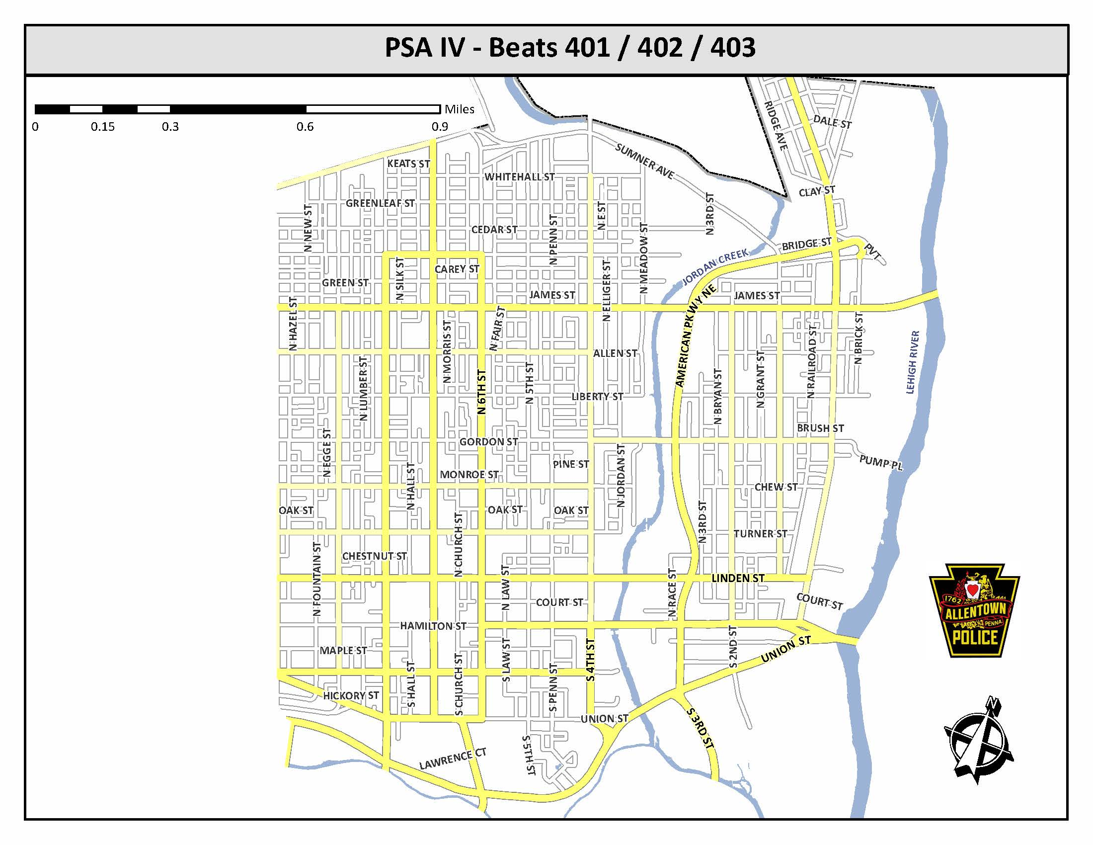 Click here for the Police Service Area IV Beats 401, 402, and 403 pdf.